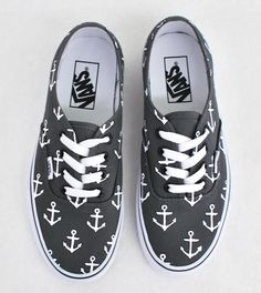 387624392d4 Custom Hand Painted Sailor Nautical Theme Anchor Pattern Charcoal Vans  Authentic Shoes - Vans Off The Wall - Made To Order Custom Sneakers