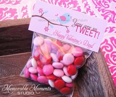 "Happy Valentine's Day!  Printable ""You are so TWEET"" little birdie Valentine candy bag labels - by Memorable Moments Studio Candy Bouquet Diy, Diy Bouquet, Happy Valentines Day, Valentine Ideas, Candy Bags, Valentine Decorations, For Your Party, Holiday Fun, Party Favors"