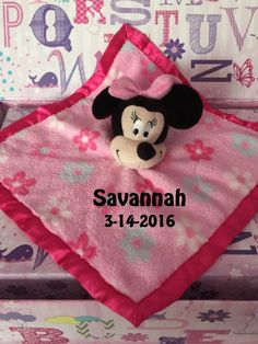 Popular girl Mouse inspired Snuggle Blankey Security Baby Blanket lovey - Monogrammed by CACBaskets on Etsy