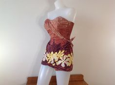 Alfred Shaheen 40s 50s Swimsuit 1950s Bathing Suit Hawaiian Sarong Dress Vintage Pinup Swimsuit Playsuit