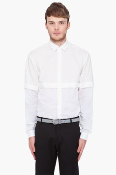 MUGLER White Cross Layered Shirt