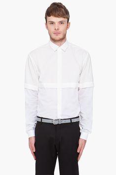 MUGLER White Cross Layered Shirt