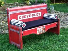 Wild Heart Studio : 53 Chevy Bench (I have a waterfall bed just like this in my spare bedroom, do I have the nerve to cut it apart and do this?)