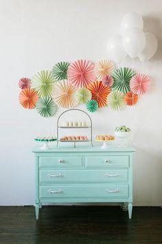 Cute paper rosettes backdrop