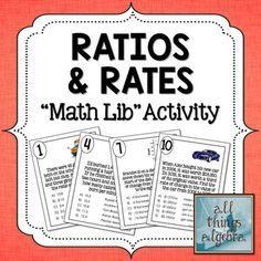 Ratios, Unit Rates, Rate of Change: Math Lib ActivityMath lib activities are a… Math Strategies, Math Resources, Math Activities, School Resources, Fun Math, Math Math, Maths, Sixth Grade Math, Math Notebooks