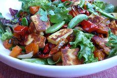 Delish roasted veg and haloumi salad recipe Haloumi Cheese, Haloumi Salad, Christmas Lunch, Kung Pao Chicken, Salad Recipes, Nom Nom, Delish, Salads, Roast