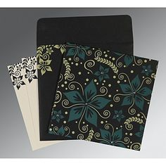 Give your wedding a special feel with our exclusive Black, Matt paper, Designer Wedding Cards - Muslim Wedding Cards, Muslim Wedding Invitations, Indian Wedding Cards, Wedding Card Design, Wedding Invitation Design, Floral Invitation, Invite, Whimsical Wedding, Screen Printing