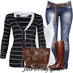 stripped cardigan for college, Casual styles for college girls http://www.justtrendygirls.com/casual-styles-for-college-girls/