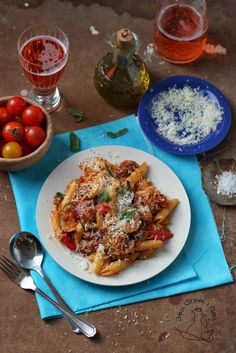 Courgette meatballs penne with plenty of parmezan cheese