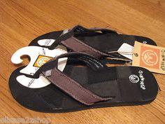 Men's Ocean Minded flip flops thongs sandals patchwork leftover 2 black 13 NEW