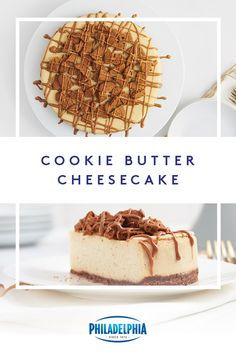 It's made from cookies, and it's cheesecake. This Cookie Butter Cheesecake is a celebration of all the ingredients you love from PHILADELPHIA Cream Cheese and cinnamon to nutmeg and speculoos cookies. Thanksgiving Desserts, Holiday Desserts, Holiday Baking, No Bake Desserts, Just Desserts, Christmas Baking, Delicious Desserts, Dessert Recipes, Yummy Food