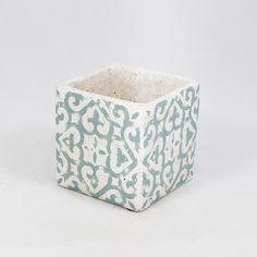 Flormania - Vaso em cerâmica com padrão de azulejo 13cm