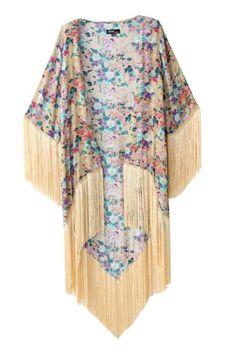 Floral Print Half Sleeves Kimono - S Cardigan Kimono, Kimono Coat, Floral Cardigan, Long Cardigan, Kimono Duster, Fringe Kimono, Boho Kimono, Long Floral Kimono, Moda Boho
