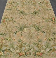 9'x12'Handmade Handstitched Mixed Stitches Tropical Foliage Needlepoint Area Rug