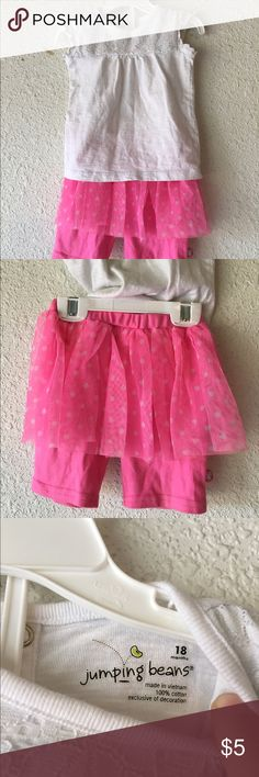 Girl's White Shirt and Pink Shorts w/ Tulle Skirt (Size 18 mos) The shirt is Jumping Beans Brand and the pink shorts/skirt combo is Hello Kitty Brand. Hello Kitty Shirts & Tops Tees - Short Sleeve