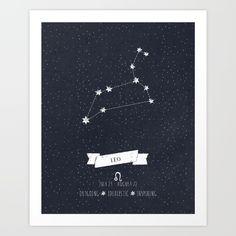 Leo+Constellation+Print+Art+Print+by+Angelina+Perdomo+-+$12.48