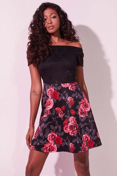 Off shoulder skater dress. Lined lace bodice with cap sleeves. Model is wearing size S. Lace Bodice, Free Clothes, Skater Dress, Cap Sleeves, Off The Shoulder, Floral, Pretty, Skirts, Model
