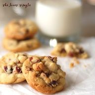 White Chocolate Chip, Macadamia and Craisin Cookies To Die For! From She loves simple