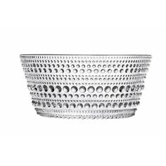 Glass bowl with a concentric dot design. Made in Finland. Product: Bowl Construction Material: Glass Color: Clear Features: Designed by Oiva Toikka, 1964 Will enhance any tabletop Dimensions: H x Diameter Cleaning and Care: Dishwasher safe