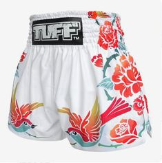 TUFF Muay Thai Boxing White Shorts Birds And Roses Inspired by Ancient Drawing Jiu Jitsu, Ufc, Sport Outfits, Cool Outfits, Muay Thai Martial Arts, Workout Gear For Women, Muay Thai Training, Kickboxing Workout, Fitness Inspiration