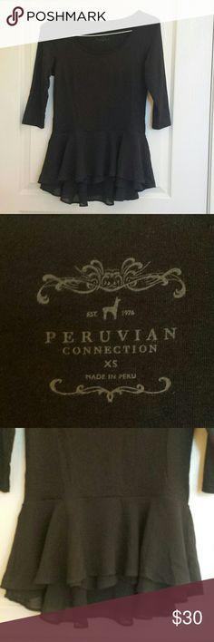 "Peruvian Connection Black Top Pima Cotton Ruffles Peruvian Connection Black Top with Ruffled hem. Pima Cotton Blend. 3/4 Sleeve. Armpit to armpit: 15.5"". Sleeve length (shoulder to Cuff end): 15 5"". Length (shoulder to hem): 27.5"". Peruvian Connection Tops Blouses"