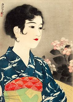 """Japanese Art Print """"No. 7 - Flowers"""" from the Series """"100 Figures of Beauties Wearing Takasago Kimonos"""" by Ito Shinsui. Shin Hanga and Art Reproductions http://www.amazon.com/dp/B00WWJ4J3Q/ref=cm_sw_r_pi_dp_tRyswb0T14WNW"""