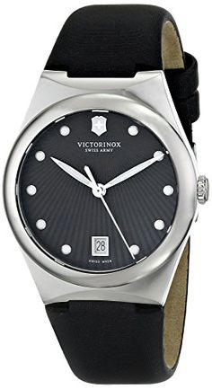 Victorinox Womens 241632 Victoria Analog Display Swiss Quartz Black Watch -- Click image to review more details.