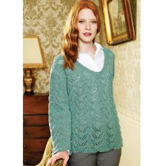 Lacey sweater pattern that I hope to do if I ever can figure out that knitting needles are different from crochet hooks.