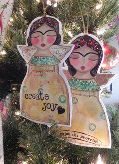 Christmas Angel FRIDA ornament Enjoy the by Southendgirlart