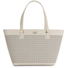 Kate Spade New York Mini Harmony Leather Tote ($209) ❤ liked on Polyvore featuring bags, handbags, tote bags, crisp linen, zip top leather tote, white tote bag, genuine leather tote, white leather tote bag and leather purses