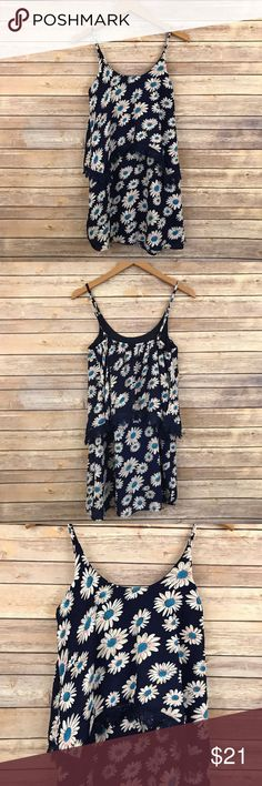 "NWT Blue Daisy Floral Crochet Layered Dress B1 Bust: 14.5""-18"" Length: 32""  Back elastic   Condition: No Rips; No Stains  100% Polyester   📦Orders are shipped within 24hrs! {Except weekends}📦  🚫No Trades🚫No Holds🚫 Fashion Line Dresses Mini"