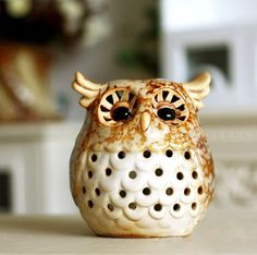 Fine ceramic Owl, European country style, for decoration with etched candlestick in room.