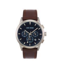 Bailey 3-Eye Chronograph Watch - JackSpade (230) [brown leather strap]