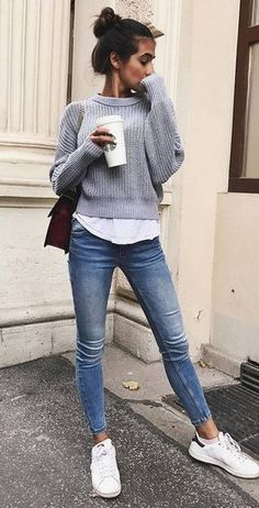 Grey sweater, white top, skinny jeans, white tennies, burgundy crossbody bag