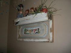 antique window frame made into a shelf