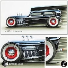 """repost via @instarepost20 from @pinstripe_chris For  #WagonWednesday  this 32 Ford """"Tudor"""" from a while back sort of falls in that realm. Sort of. Or it's an excuse for me to post a cool hot rod rendering- either way. Done using markers & airbrushed acrylics on marker paper. Prints of this are available on my Store page (link is in my BIO or DM me). #Ford  #hotrod  #custom  #customcar  #slammed  #tudor  #v8  #steelies  #whitewalls  #carsketch  #cardesign  #automotiveillustration  #rendering…"""