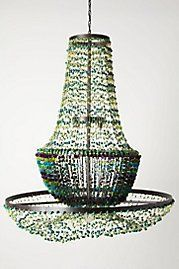 Cool chandelier made from Waxed Polyester Cord, Acai Beads, Tagua nut slices, Tagua nut Beads, Tagua nut Spacers. From Antropologie. Decor, Beaded Chandelier, Beaded Lamps, Cool Chandeliers, Accessories Design, Chandelier, Interior Design Elements, Furniture Sale, Home Goods Furniture