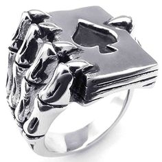 AnaZoz Silver Black Punk Gothic Skull Hand Claw Poker Playing Card Mens Stainless Steel Ring Size 10. By AnazoZ Jewelry Shop Adopt Resist Allergy Material,Ensure Safety And Environmental Protection. Over 1000+ Offers High Quality Luxury Jewelry, Choose a Favorite Gift. 30-Day Money Back Guarentee.100% Secure Shopping. By AnazoZ Jewelry Brand Free Package As a Gift. Any Questions by E-mail, You Will Get a Reply in 24 Hours.