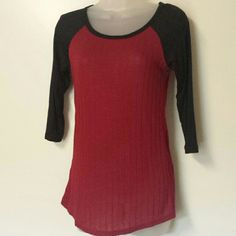 NWT! Maroon Jersey style sweater Lightweight Maroon Jersey style soft thin sweater with black 3/4 sleeves. This rayon based sweater is the perfect soft blend without making you overheat! The arms are not sweater but rayon/spandex blend so it's like a really soft thin jersey sleeves. Great sweater! ....and yes, it fits snug, not loose. Rue 21 Sweaters Crew & Scoop Necks