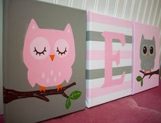 Owls Nursery Wall Decor Pink and Gray Grey by cathyscraftycovers, $57.00
