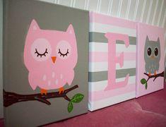 Owls Nursery Wall Decor Pink and Gray Grey by cathyscraftycovers, $57.00