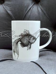 Jet black Intricate Ink designs on white fine bone china