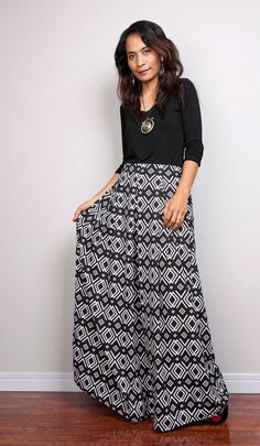 Floor Length Skirt - Black and White Maxi Skirt : Feel Good Collection No.3 by Nuichan on Etsy https://www.etsy.com/listing/182358616/floor-length-skirt-black-and-white-maxi