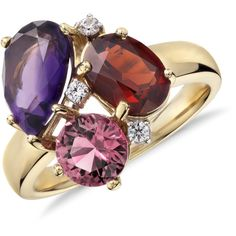 Blue Nile ZAC Zac Posen Amethyst, Garnet  and Pink Tourmaline Cluster... (8 810 ZAR) ❤ liked on Polyvore featuring jewelry, rings, garnet jewelry, tri color ring, multi color rings, pink tourmaline ring and cluster ring