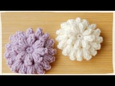 How to Crochet Puff Stitch Flower (treble crochet Diy Crochet Rose, Crochet Puff Flower, Irish Crochet, Crochet Flowers, Knit Crochet, Crochet Potholders, Crochet Stitches, Crochet Patterns, Crochet Brooch