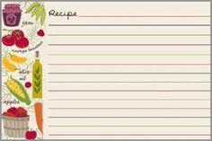 Veggies Recipe Cards