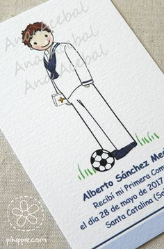 Recordatorios de Comunion personalizados  www.pihippie.com Place Cards, Place Card Holders, Cover, Art, Decorated Letters, First Holy Communion, Art Background, Kunst, Performing Arts