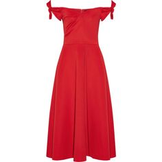 Saloni Ruth off-the-shoulder stretch-neoprene midi dress (22.395 RUB) ❤ liked on Polyvore featuring dresses, red, red sweetheart dress, red dress, fit and flare dress, off the shoulder midi dress and ruched dress