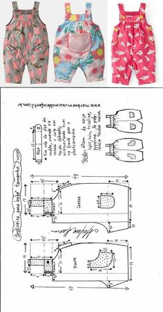 для деток: одежка для мальчиков Jardineira com botões para bebês - DIY- marlene mukai - molde infantil Toddler Sewing Patterns, Baby Girl Dress Patterns, Baby Clothes Patterns, Dress Sewing Patterns, Baby Girl Dresses, Baby Outfits, Toddler Outfits, Clothing Patterns, Kids Outfits