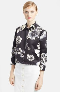 Luxury MSGM Floral Print Cotton Jacket with Embroidered Collar